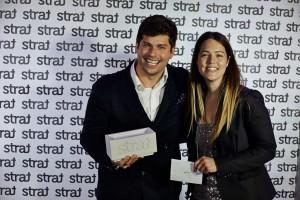 Anne-Marie Jodoin de Sherlock et Simon Cazelais de Bleublancrouge lors de la remise des Prix Strat 2014.